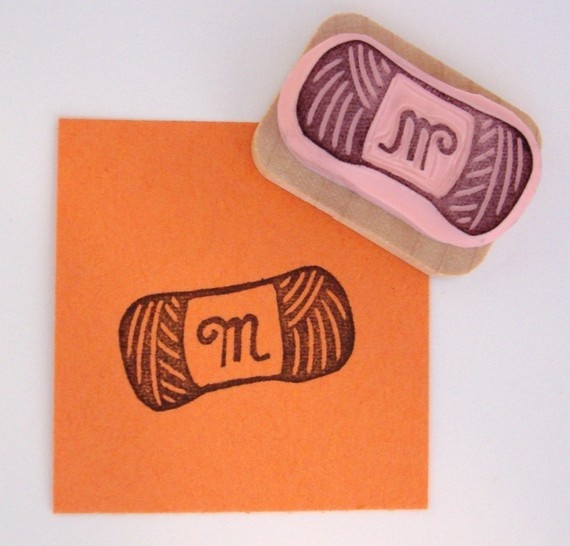 Yarn Skein with Monogram Hand Carved Rubber Stamp by cupcaketree, $6.00