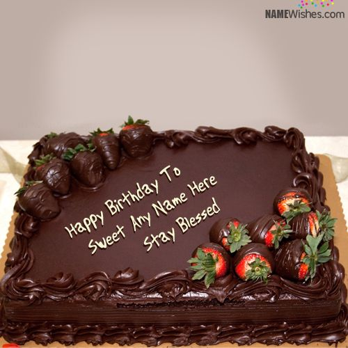 Write Name On Chocolate Square Birthday Cake