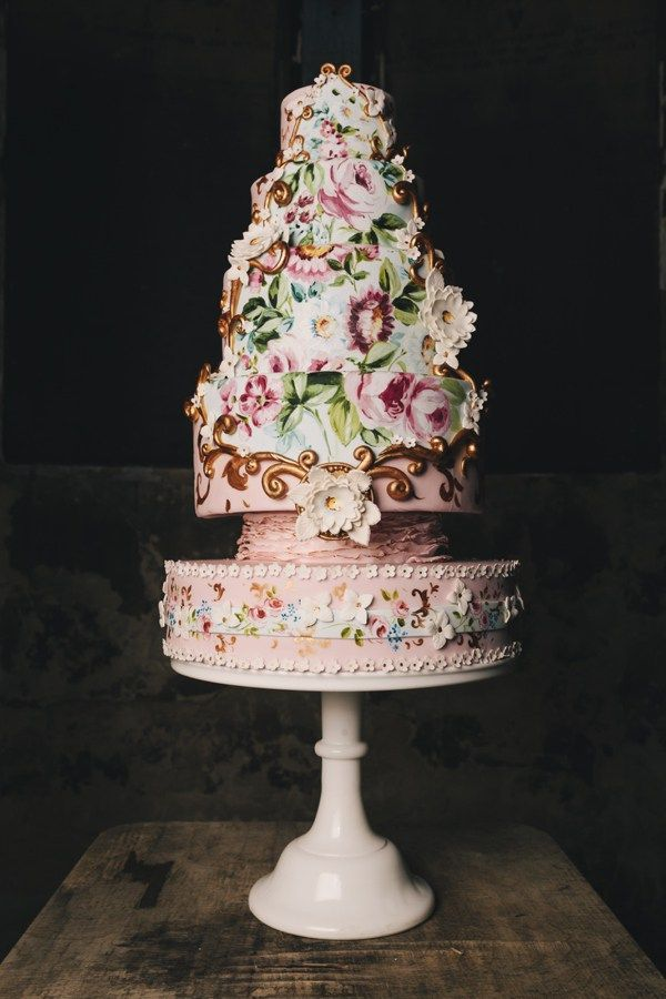 Baroque Bridal Asylum Wedding Ideas Painted Cake Floral Pink Gold http://www.brighton-photo.com/
