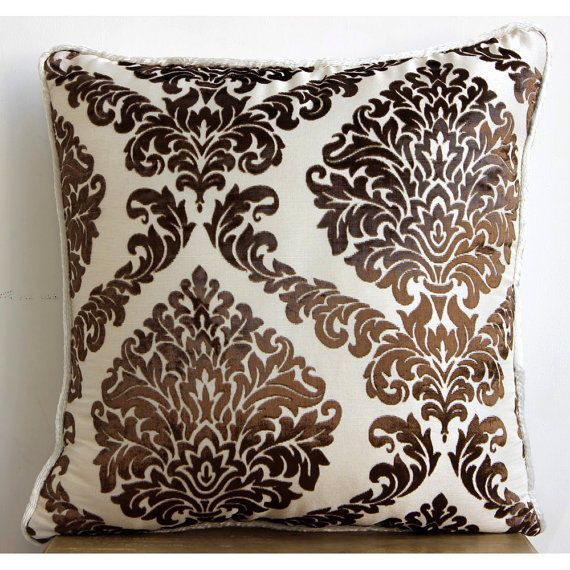 "Damask Brown Pillow Cases, Burnout Velvet Pillow Covers 16""X16"" - Damask Brown"
