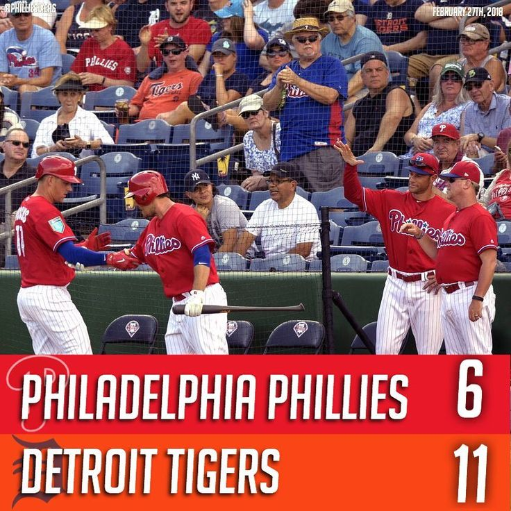 It was an offensive explosion this afternoon but the Phillies' bats didn't match the Tigers'. The Phils lost to Detroit by a score of 11-6 and scored all six of their runs in the fourth inning. The Tigers scored in 5 different innings including a total of 8 runs in the first 3 innings. It goes without saying that the Phillies pitchers didn't perform too well today in Clearwater. - Hitting Highlights:  Rhys Hoskins went 1-2 and hit his first home run of Spring Training.  Tommy Joseph went 2-2…