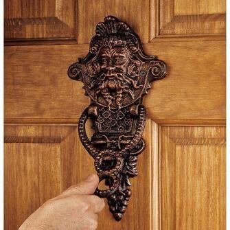 Winthrop Manor Greenman Authentic Foundry Iron Door Knocker: Set of Two
