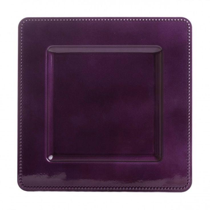 Leia Square Purple Charger Plates Bulk 36 Pieces 1 00