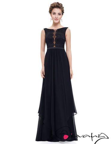 Βραδινό φόρεμα με δαντελοτό μπούστο σε μαύρο χρώμα.