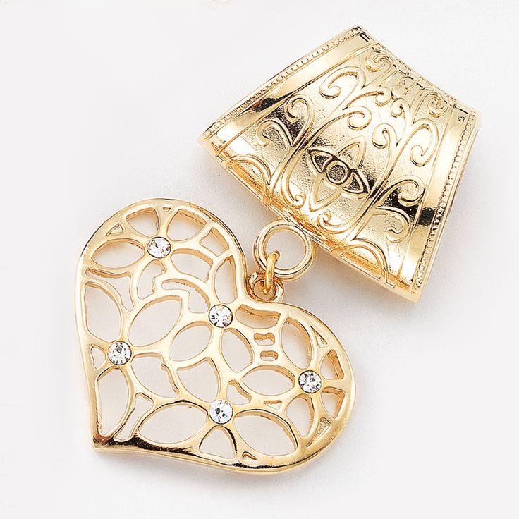 NICE regalos hermosos-  Hermosa porta mascadas, joyeria con 4 baños de oro de 18 kilates con piedras de cristal incrustadas.