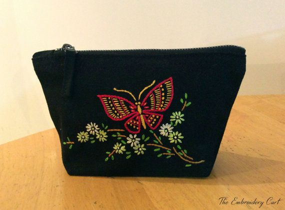 Butterfly purse Hand Embroidery Small pouch by TheEmbroideryCart