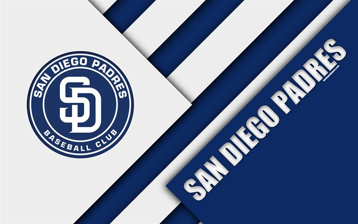 Download wallpapers San Diego Padres, MLB, 4k, white blue abstraction, logo, material design, baseball, San Diego, California, USA, Major League Baseball