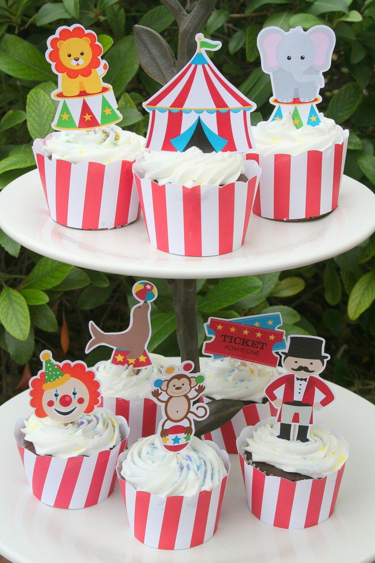 Circus Carnival Party Assorted Cupcake Toppers Set of 12. $6.00, via Etsy.