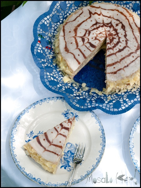 Esterhazy torte - airy almond flour layers with cream filling. famous austrian pastry