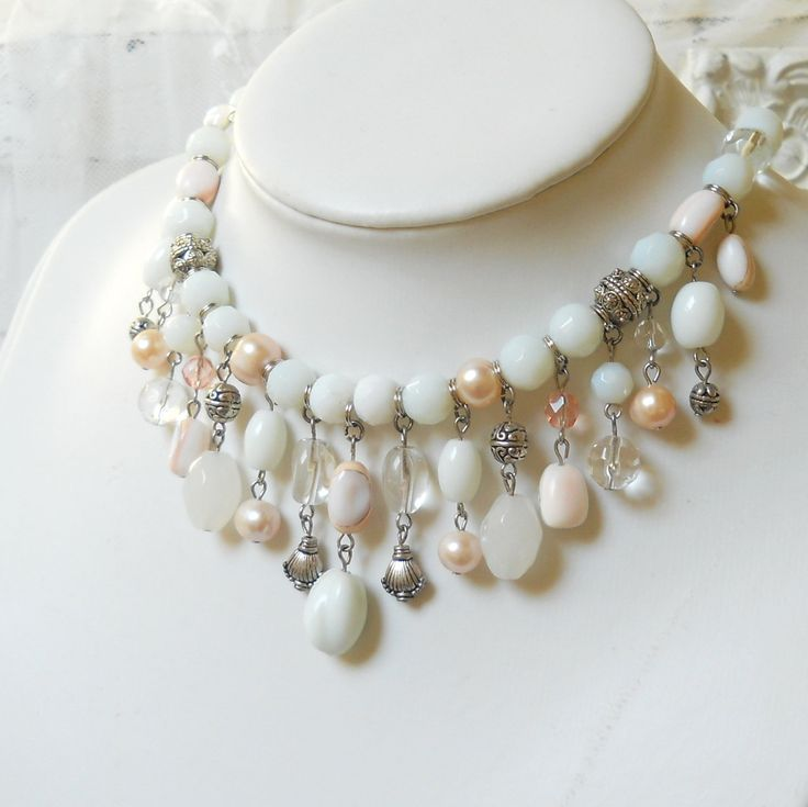 white bib necklace, shell necklace, pearl necklace, shell and pearl necklace, white necklace by minouc