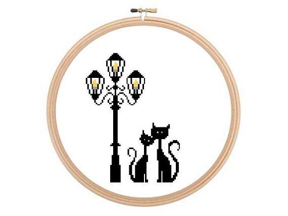 Cats Under Lamp Post - Cross stitch pattern, Love Cross