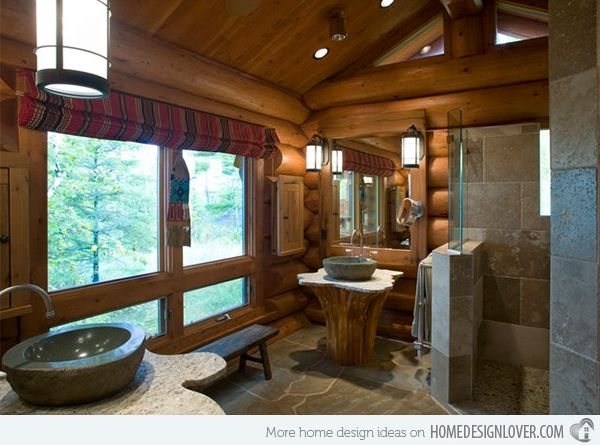 15 bathroom designs of rustic elegance log cabin