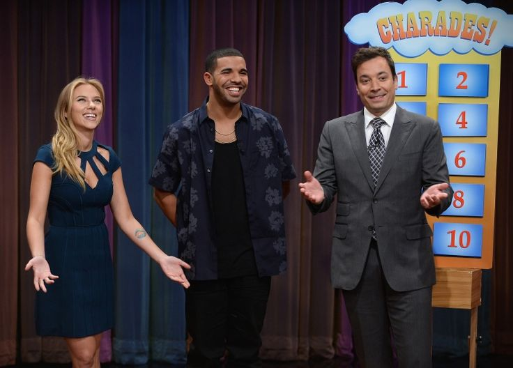 Scarlett Johansson, Drake And Jimmy Fallon | GRAMMY.com: Fallon Plays, Charades On Late, Hottest Games, Scarlett Johansson, Jimmy Fallon, Fallon Late, Late Nights, Fallon Photo, Plays Charades