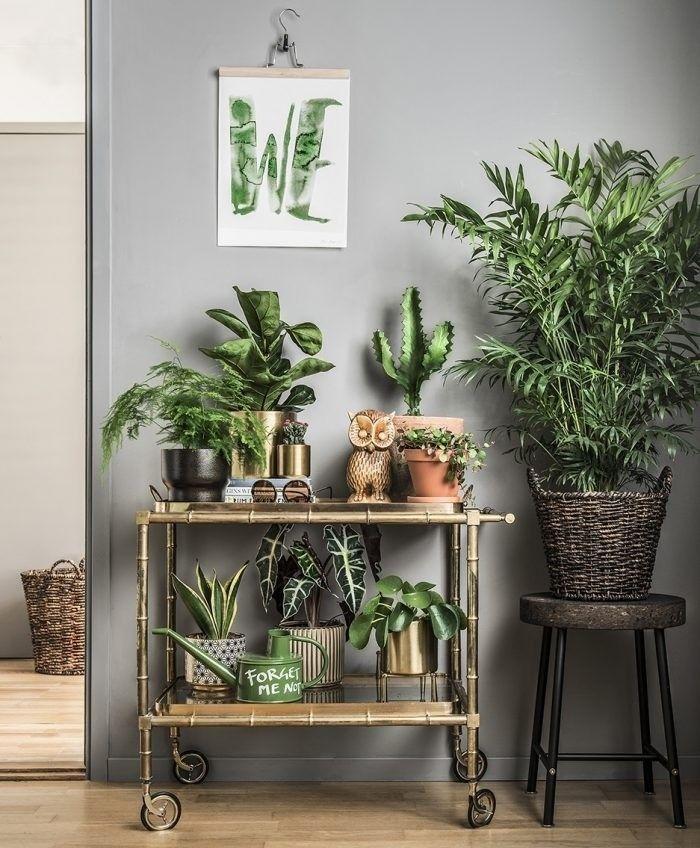 Nós já mostramos que os carrinhos de chá estão com tudo. Este ambiente é prova de que eles podem ter muitos usos. Além de servir de bar, fica lindo acomodando uma série de vasinhos de plantas e criando um cantinho verde como este. Que tal?📷: Elle Decoration #jardim #planta #flor #cactus #carrinhodechá