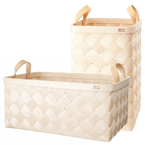 Lastu Oversized Basket : Set of 2 : Natural Leather Handles