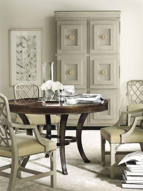 Cream Chippendale Chairs With Stained Dining Table (Suzanne Kasler)