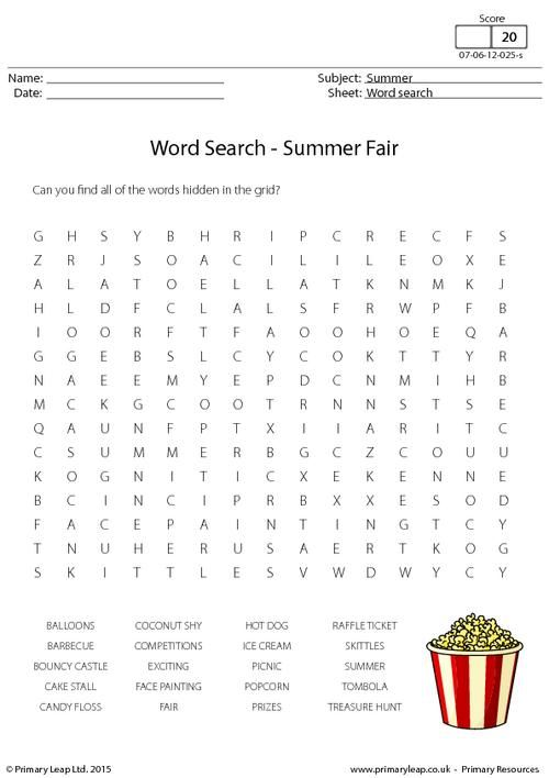 primaryleapcouk summer fair word search worksheet