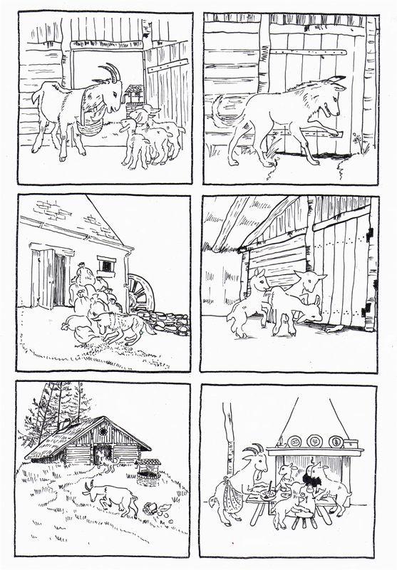 """6 images séquentielles de l'album: """"la chèvre et les biquets"""" de Paul-François, images de Gerda aux éditions du Père Castor - dis bonjour au soleil"""