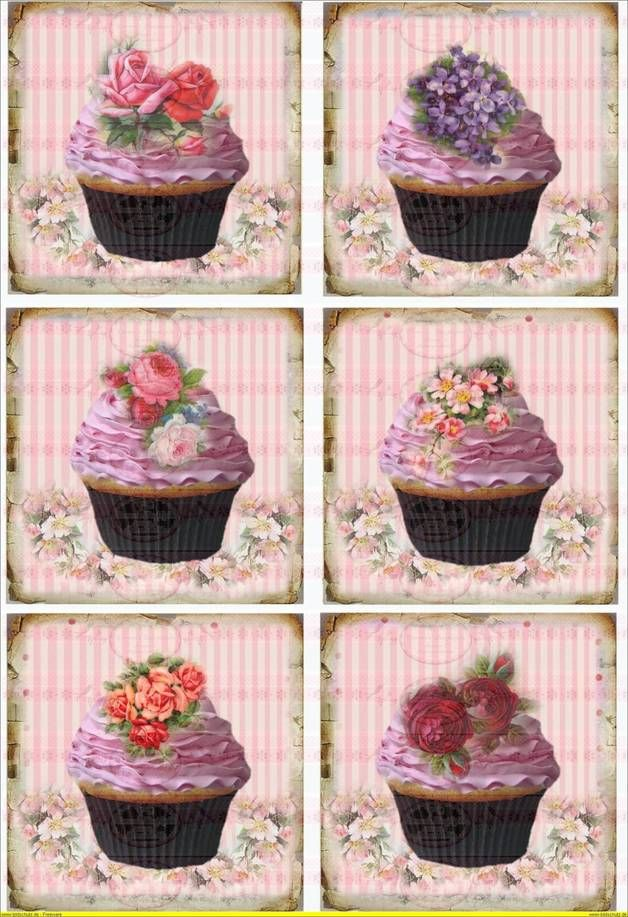 Vintage Shabby Bügelbild Cupcake Blumen Rose