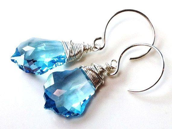 Aquamarine blue Swarovski crystal earrings-925 sterling silver by Emmalishop