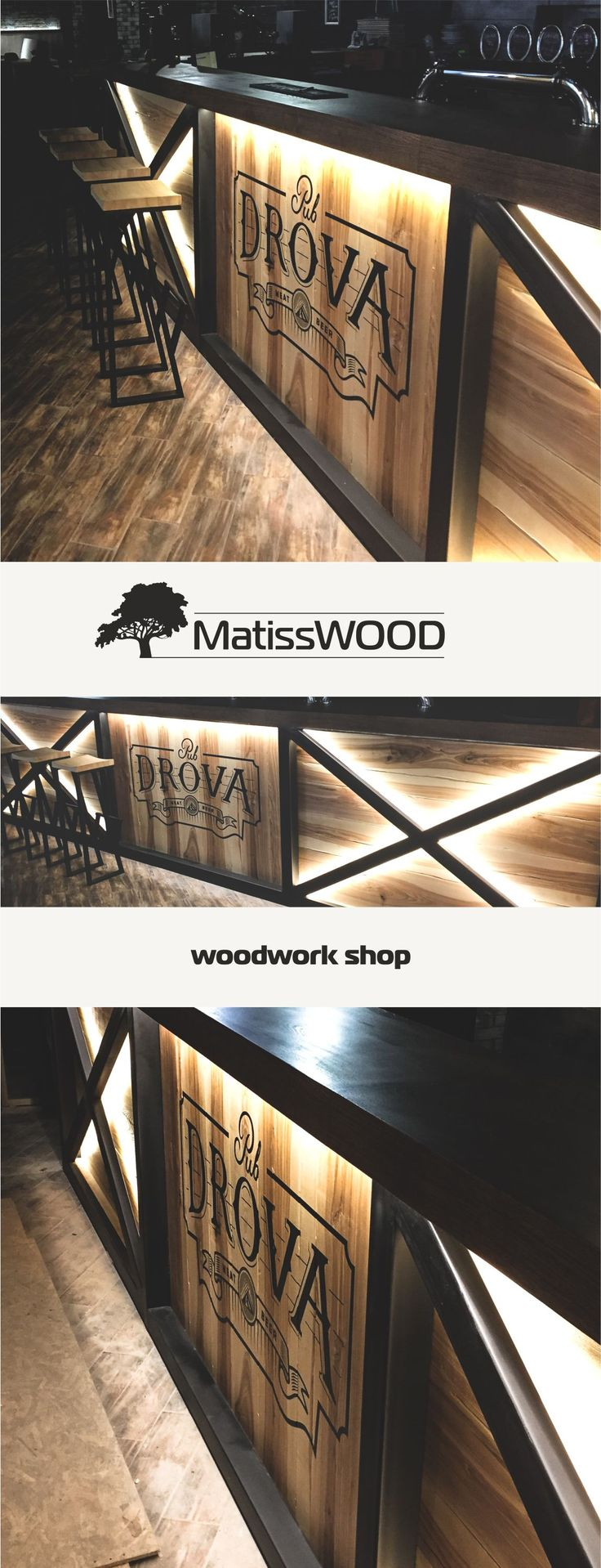 Bar rack | Барная стойка. MatissWOOD Kirovograd #woodwork #wood#woodworking #kitchen #naturalwood #kirovograd #woodkitchen #pub #lighting #light #food #restaurant #cafe