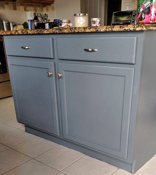 Kitchen Island In Gf S Gray Gel Stain Blue Kitchen