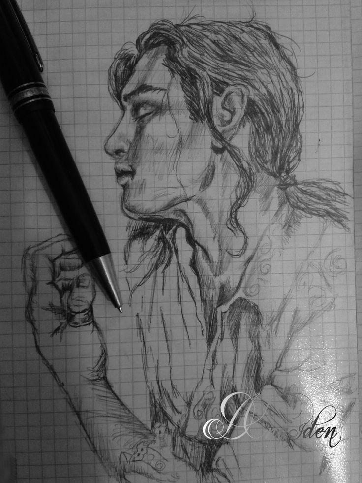 #dreamingman #manwithlonghair #sadman #feelings #drawing with rollpointpen by #danaiden