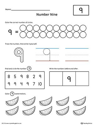 Number 9 Practice Worksheet Worksheet.Help your child practice counting, identifying, tracing, and writing number 1 with this printable worksheet.