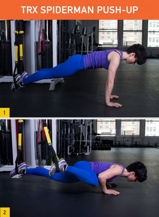 TRX Spiderman Push-Up Targets: Chest, triceps, obliques, quads, lower back, shoulders, and core (plus, it opens up the hips)
