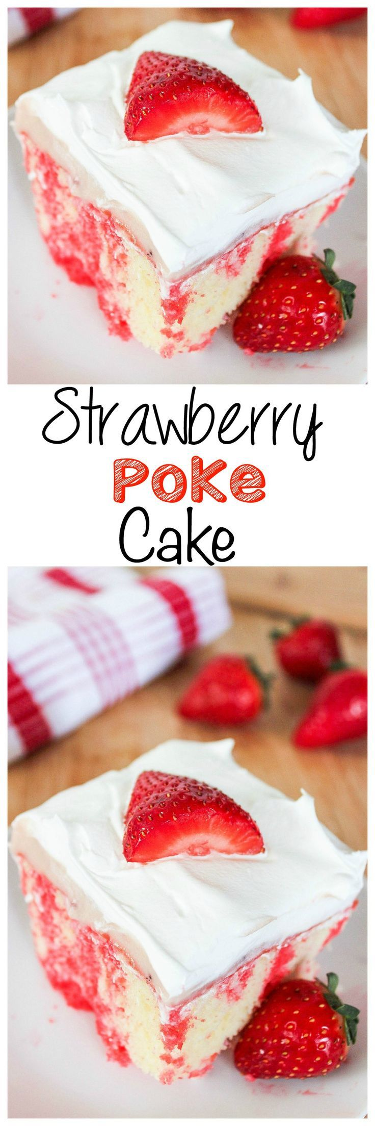 Strawberry Poke Cake: Moist white cake bursting with strawberries and topped with whipped cream. All the flavors of strawberry cheesecake in an easy to make sheet cake!: