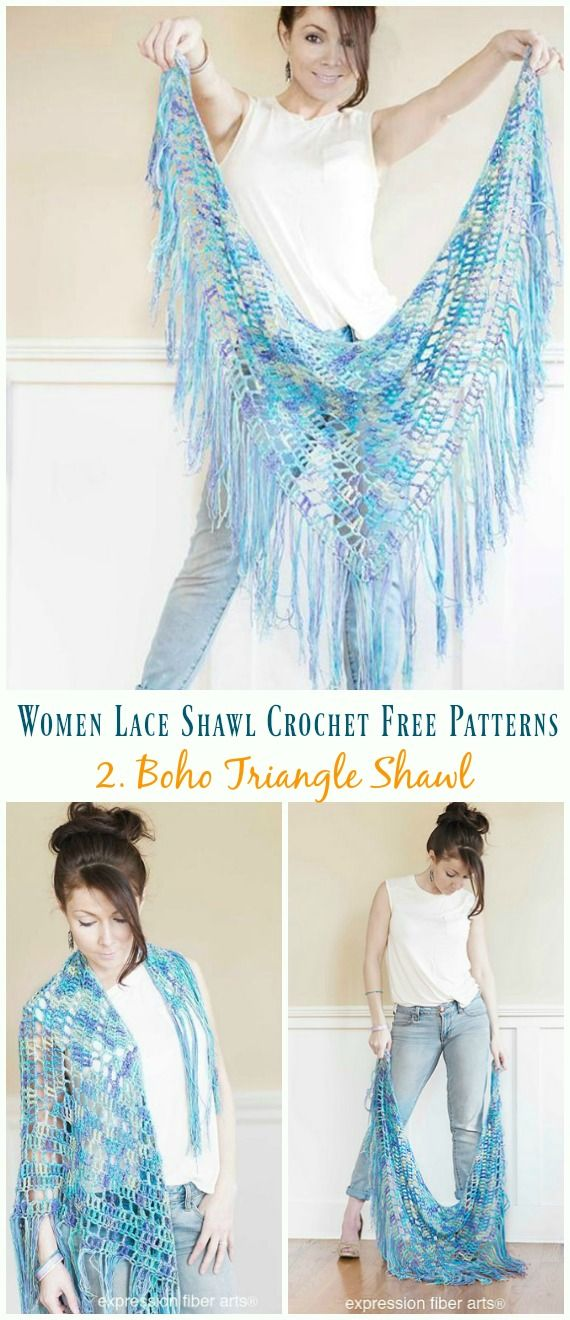 Boho Triângulo Xaile Crochet Padrão Livre - Mulheres Lace Xaile No. 2