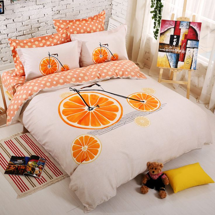 Cheap queen size bedding set, Buy Quality bedding set directly from China bed duvet covers Suppliers: Cotton Set Bedding Orange Bicycle Bed duvet cover linens 4-pcs Home Breathable Smooth  Queen size bedding sets