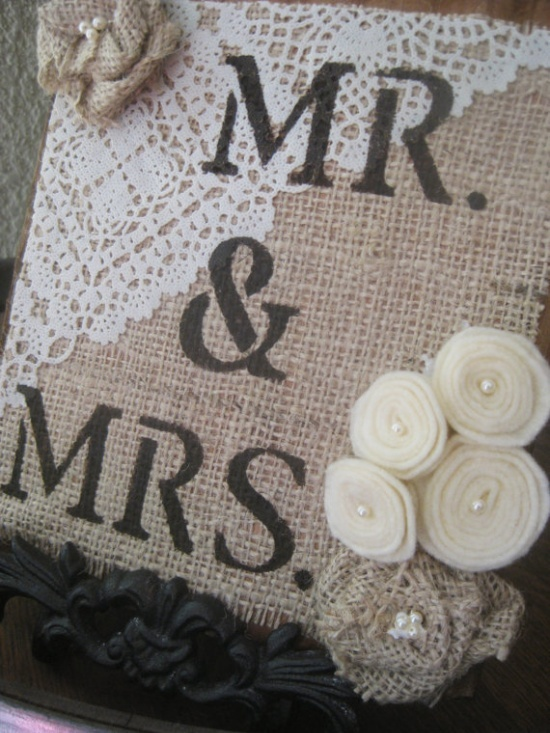 ?burlap and lace wedding decorations | Our Wedding-Decorations / Mr & Mrs Custom Barnwood Burlap and Lace by ...