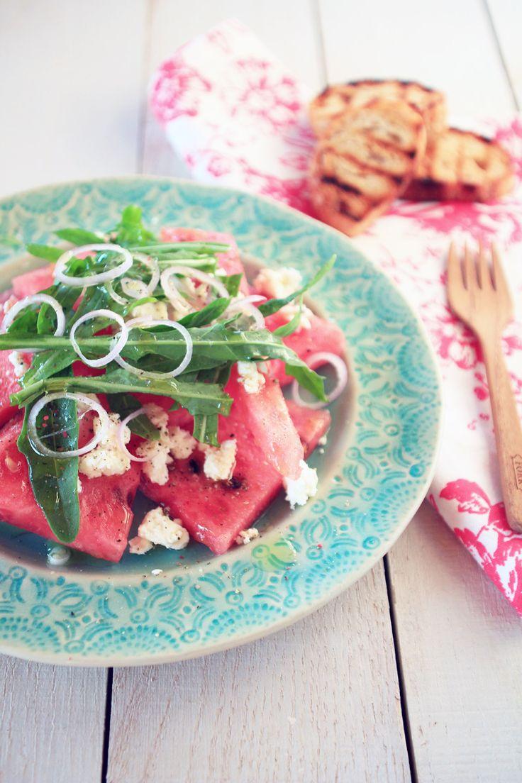 Watermelon  Feta Salad / Wassermelonen  Feta Salat {flowers on my plate}