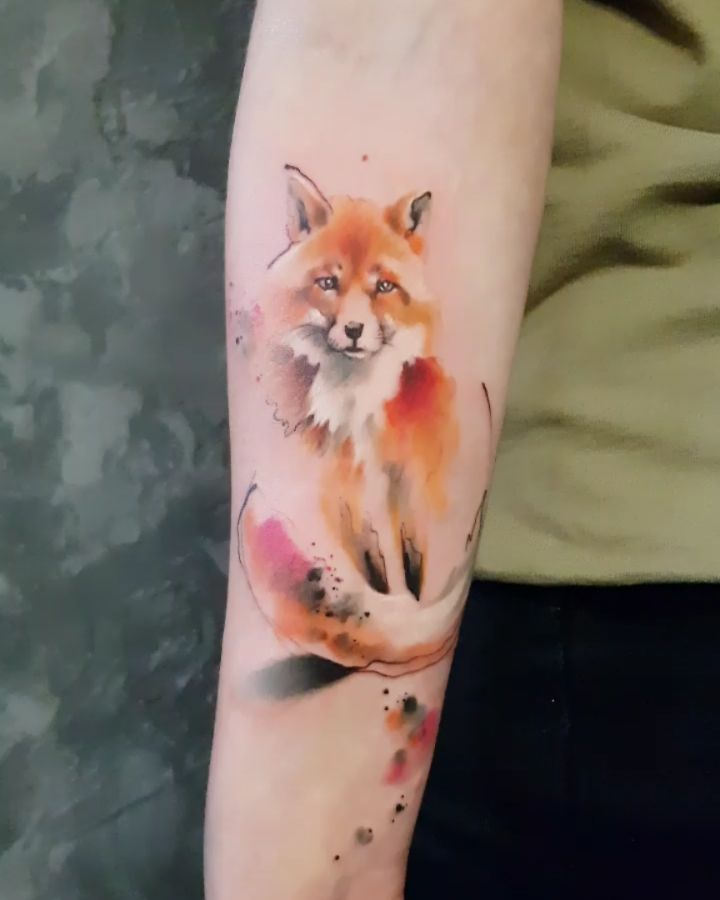 Watercolor Fox Animal Tattoos Fox Tattoo Body Art Tattoos