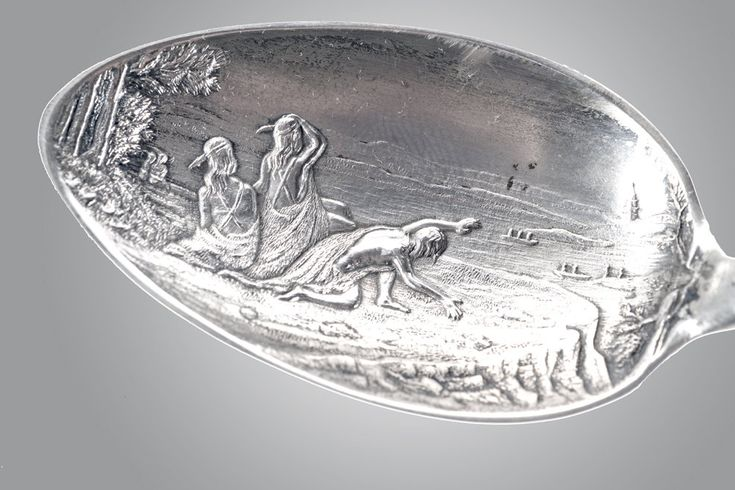 1892 Simmons sterling engraved spoon Philadelphia Penn Treaty Lenape Indians by SearchEndsHere on Etsy