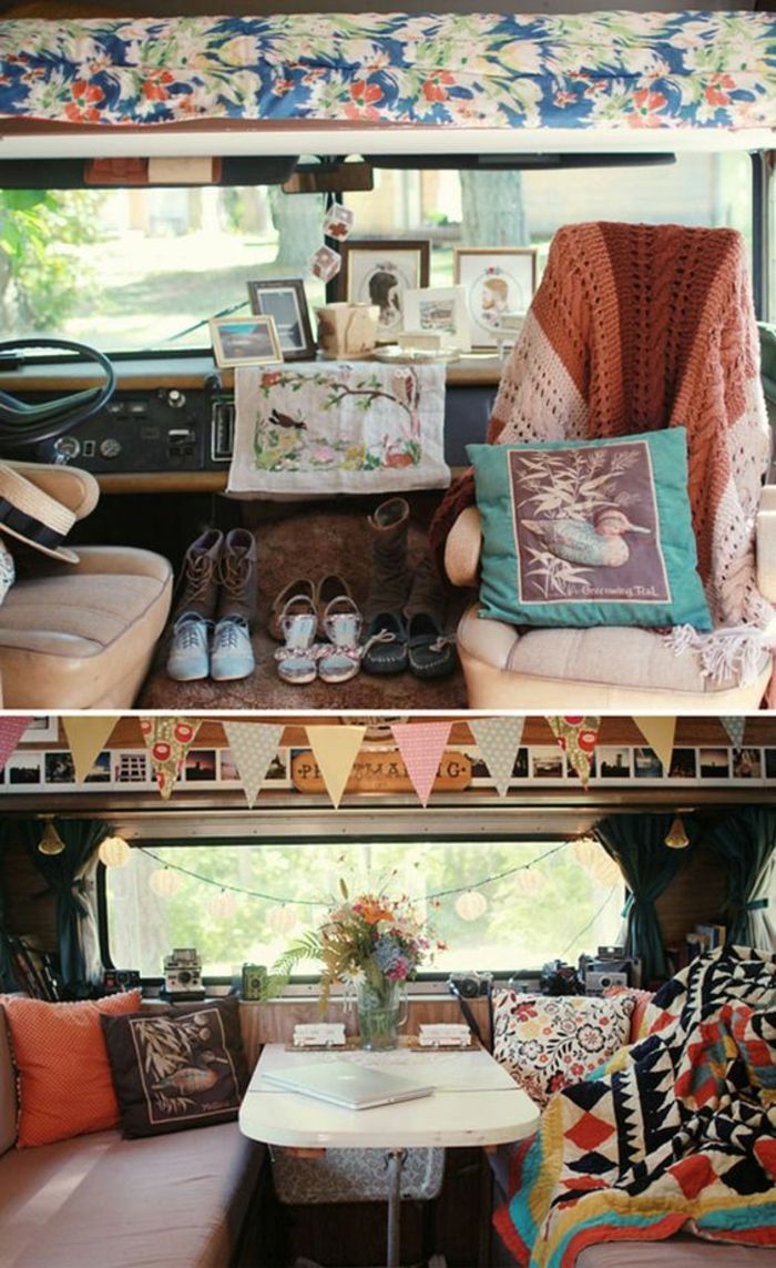 vivre dans une caravane aménagée en vintage style