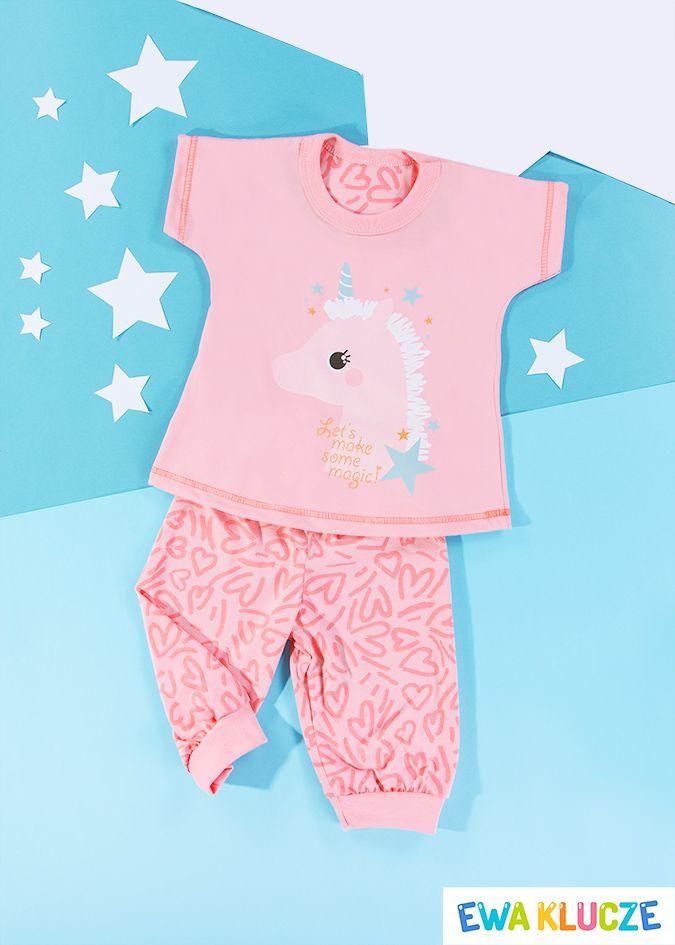 EWA KLUCZE, koralowa piżamka z krótkim rękawem COMICS, ubranka dla dzieci, EWA KLUCZE, COMICS pijamas, baby clothes, Детская одежда