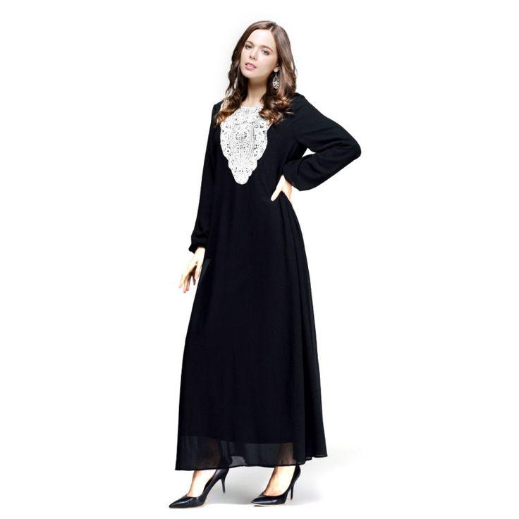 Kaftan Jilbab Islamischen Muslimischen Abaya Frauen Chiffon Maxi Langarm Kleid S4