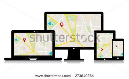 This image is a vector file representing a set of media technology devices with map location app./Vector Gadgets Map Location/Vector Gadgets Map Location