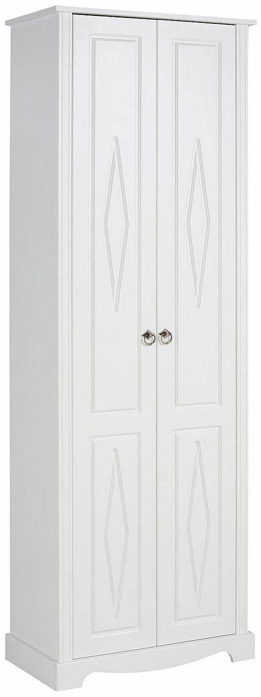 In folgenden Farben erhältlich:  Korpus/Front: gelaugt/geölt, Korpus/Front: kolonialfarben lackiert, Korpus/Front: weiß lackiert, Holzstruktur sichtbar,  Details:  2 Türen, 1 Ablage, Maße Ablagefläche (B/T): ca. 60/32/25 cm, 1 Kleiderstange, FSC®-zertifiziert,  Gesamtmaße:  Gesamtmaße (B/T/H): 67/37/191 cm,  Material:  FSC®-zertifiziertes Massivholz, Aus massiver Kiefer, Griffe aus Metall, Scha...