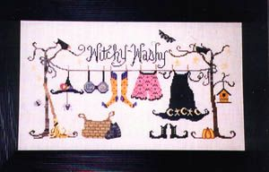 Witchy Washy - Cross Stitch Pattern  by Raise The Roof Designs  Price: $6.29 Even witches have to do the laundry sometimes! Some witch has done her chores and the laundry is on display for all to see! Model stitched on 32 Ct. Flax Belfast Linen. Stitch Count: 213W x 100H.