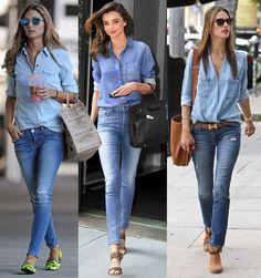 A combinação não poderia ser mais simples: calça jeans com camisa em look pra lá de casual. Mas e se ambas as peças forem de denim, pode? Claro que pode!