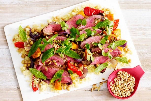 Serve up a zesty Moroccan inspired dish with this tender butterflied lamb served with roasted vegetable couscous salad.