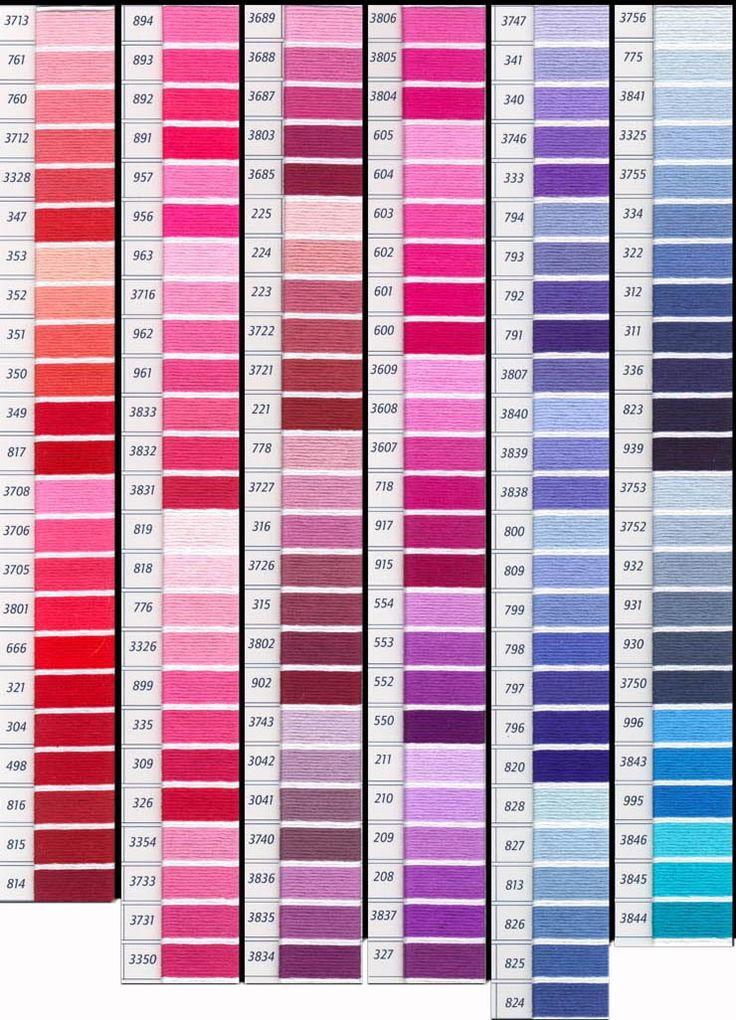 Tabla de colores DMC y matizados. Carta de colores de DMC Mouline articulo 117