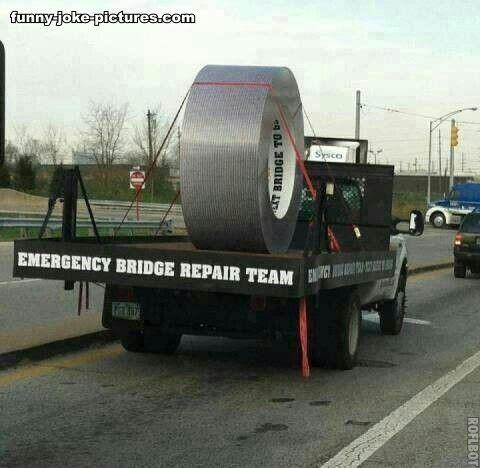 Funny Gaffer Tape Bridge Repair Truck Picture
