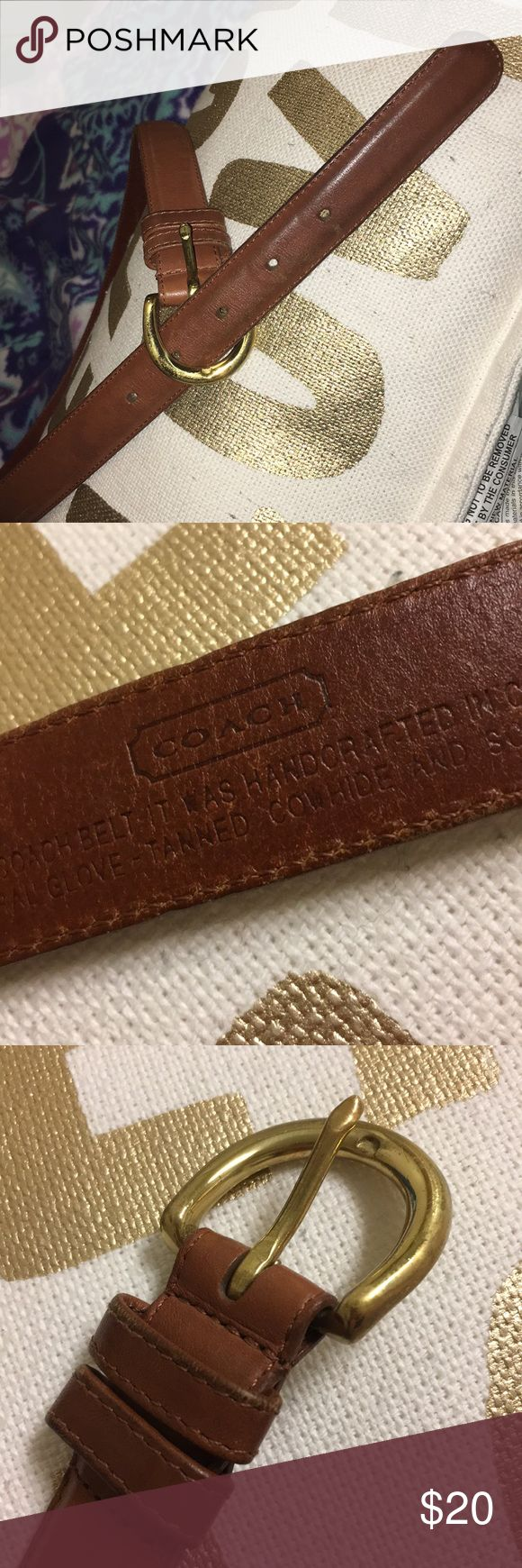 100% Leather Coach Belt PERFECT CONDITION! Brown Coach leather belt W/ brass buckle and 5 holes! Handmade in Costa Rica. Size Medium.  LIKE THE ITEM BUT NOT THE PRICE? SEND ME AN OFFER!  PET FREE AND SMOKE FREE HOME 🚭 Coach Accessories Belts