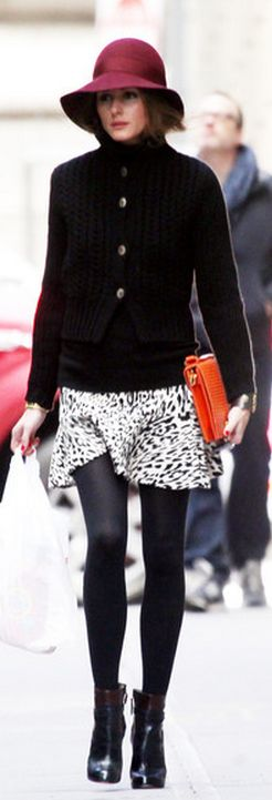 Who made Olivia Palermos leopard skirt and black boots that she wore in New York?