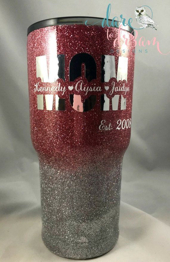 Personalized Mom Glitter Tumbler Kids Names Tumbler Rose Gold