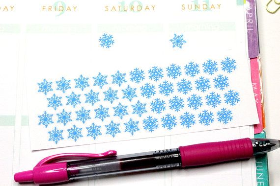 48 Snowflake Star Stickers Perfect for your by KarolinasKrafts